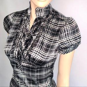 Antilia Femme Stretch Satin Plaid Ruffle Top Shirt